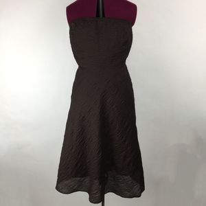J. Crew Embossed Cotton Brown Strapless Dress